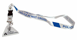 "LANYARD White Blue 48cm 19"" Long 2cm 3/4"" Width Police Line Do Not Cross Text"