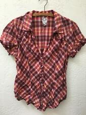 Guess Plaid Snapfront Short Sleeve Top Plum / Pink jrs XL