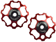 OMNI Racer WORLDs LIGHTEST 11t Ti Ceramic Derailleur Pulleys Record, Chorus RED