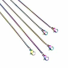 5pcs! 2mm Rainbow Color Box Chain 45cm 18inch Stainless Steel Necklace -2171