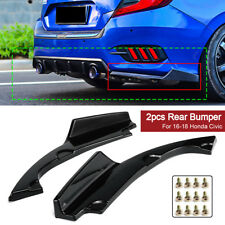 2x Rear Bumper Lower Side Splitters Apron Valance Fit For Honda Civic 2016-2018