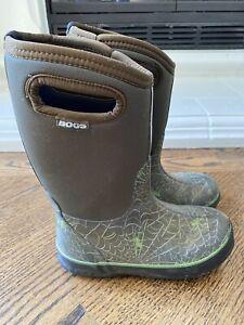 Bogs Kids Winter  Boots Rubber Green Sz 2 EU 33 ~ NICE ~