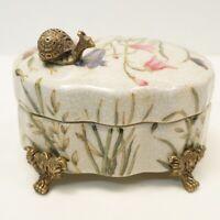 Caja Caracol Mariposa Flores Art Deco Estilo Art Nouveau Estilo Porcelana Bronce