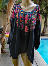 "NWT JOHNNY WAS XL,1X ""Sima"" Dark Navy Oversized Embroidered Blouse Top"