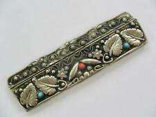 RARE ART NOUVEAU 1900 STERLING SILVER CORAL TURQUOUSE HAND CHASED COMB & CASE