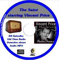 The Saint featuring Vincent Price CD 88 OTR Old Time Radio Episodes Audio MP3