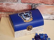 """Harry Potter inspired Ravenclaw trinket jewellery box """"Aged"""" book pages"""