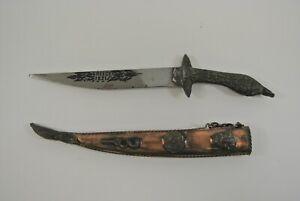 Greece 1821 Antique Knife Dagger & Holder w/ Symbols & Chain 6-Inch Blade Greek