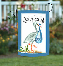 NEW Toland - It's a Boy - Cute Stork Baby Infant Blue Garden Flag