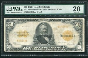 FR. 1200am 1922 $50 FIFTY DOLLARS GOLD CERTIFICATE CURRENCY NOTE PMG VF-20