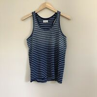 Loft Lou & Grey Women's S Navy Blue Ombre Striped Racerback Tank Top Shirt A4