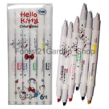Hello Kitty Water-based Twin Tip Color Markers Pen, Marker - 6Pcs - 1 Set