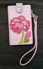 Coach Poppy Purple Leather Ipod Classic Case Floral Applique Wrist strap