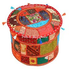 Ethnic Vintage Ottoman Seat Cover Pouffe Foot Stool Round Patchwork Furniture