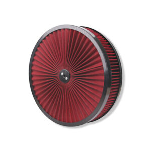 """14"""" X 3"""" Round Red High Flow Thru Washable Air Cleaner Drop Base Lid Extreme"""