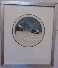 """""""ONE WINTER REMEMBERED""""- 1976 signed SHELL- ROUND IMPRINT 15/150- ROUND- FRAMED"""
