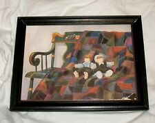AMISH QUILT PRINT Framed Very Nice Collectible