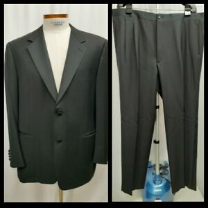 Canali Men's Black Satin Lapel Tuxedo Dinner Suit EU 58 R US 48 Wool