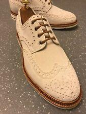 Men's Santoni Bright Ivory Leather Wing Tips Brogues Shoes UK 9 F EU 43 US 10 M