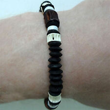Wood Fish Bone Bead Surfer Bracelet Wristband Bangle Man Woman Childrens Jewelry