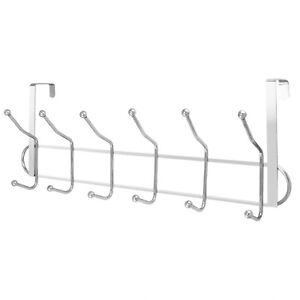 12 HOOKS CHROME OVER THE DOOR WASHROOM COAT HANGER CLOTHES TOWEL STORAGE RACK UK