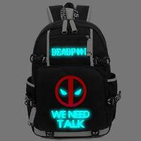 Deadpool Luminous Backpack Glow in Dark School bag Laptop bag Travel bag