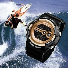 Men Stainless Steel LED Digital Alarm Waterproof Sport Army Quartz Watch gold Bф