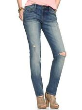 Gap classic blue wash distressed mid-rise slim fit jeans