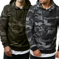 2019 Fashion Mens Pullover Camo Casual Sweatshirts Hooded Hoodie Slim Fleeces US