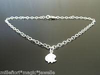 """3mm Sterling Silver Bracelet Or Ankle Chain Anklet Hedgehog Charm 7"""" 8"""" 9"""" 10"""""""