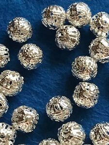 Tibetan Metal Silver plated filigree style beads  4mm 6mm 8mm 10mm