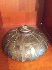 Superbe Pot à tabac lenticulaire bois cuivre Inde Rajasthan Gujarat XIXe