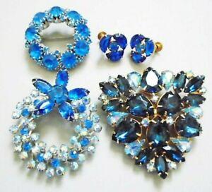 Vintage Blue Rhinestone Jewelry Lot Large Brooch, Wreath Pins, Earrings