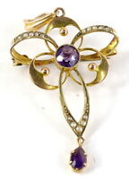 EDWARDIAN 9CT GOLD AMETHYST & SEED PEARL PENDANT / BROOCH. S BROS c1900. ANTIQUE