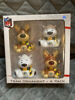 NFL 2018 Green Bay Packers 4 Pack Christmas Ornaments *4ever Collectibles*