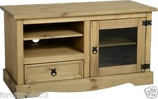 Solid Pine 1 Door 1 Drawer TV / Entertainment Unit W105cm x D45cm x H58cm CORONA