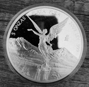 Mexico 2009 5 oz Plata Pura Silver Libertad Coin Capsule Uncirculated Bullion