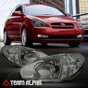 Fits 2007-2011 Hyundai Accent [Chrome/Smoke] Crystal Corner Headlight Headlamp