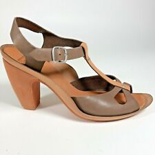 Camper Womens 37 US 7 Brown Leather Heeled Ankle Strap Sandals w Pinup Vibes