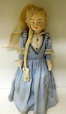Rare Medieval Character DOLL - Paper Mache Body w/ Silk Dress - Handmade 1800s