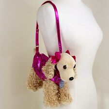 Pooch and Company Dog Purse Tan Fur Hot Pink Sequin Sweater Bows Strap Zipper