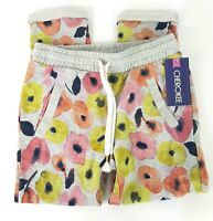 Cherokee Girls Size XS 4/5 Gray Colorful Floral Knit Drawstring Pants NWT