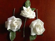 "Vintage Millinery Flower Rose 3p Lot 1 5/8"" Cotton White for Hat + Hair Crown UB"