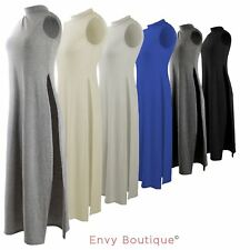 Ladies High Split Side Long Top Midi Jersey Slit Tunic Maxi Sleeveless Vest