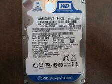 """Western Digital WD5000BPVT-24HXZT1 DCM:EHOT2HB 2.5"""" Sata 500gb Hard Drive"""