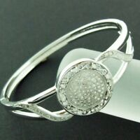 BANGLE BRACELET GENUINE REAL 925 SOLID STERLING SILVER DIAMOND SIMULATED DESIGN