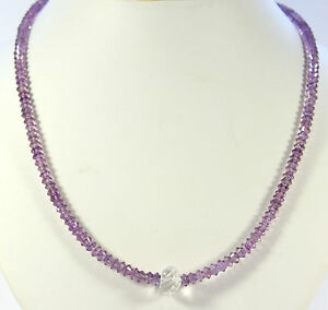 Amethyst Chain Gemstone Necklace Faceted Purple Collier