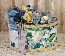 Victorian Keepsake /  Trinket Hat  Box - Blue Sweet Violets Waverly Fabric