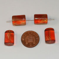 20 x clear orange/brown glass cylinder beads 15mm jewellery making