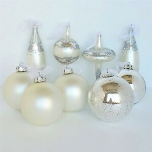 Frontgate Christmas Ornaments 9 pc Set Silver White Hand Blown Glass Jim Marvin